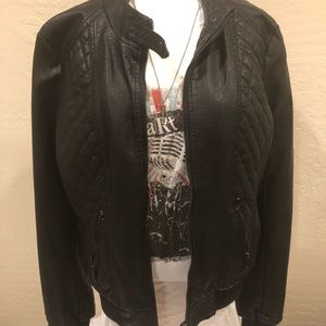 "Desoto Faux ""Vegan"" Leather Bomber Jacket, L, NWOT"